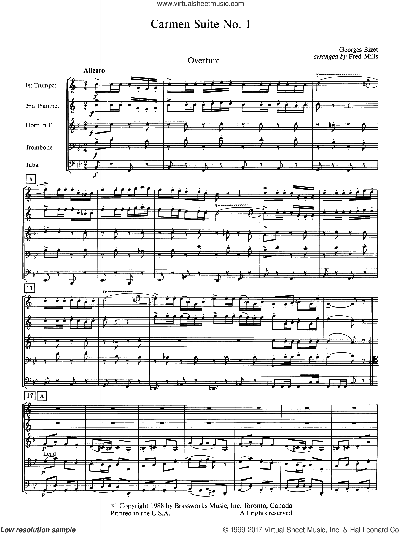 Carmen Suite No. 1 (COMPLETE) sheet music for brass quintet by Frederick Mills and George Bizet, classical score, intermediate skill level