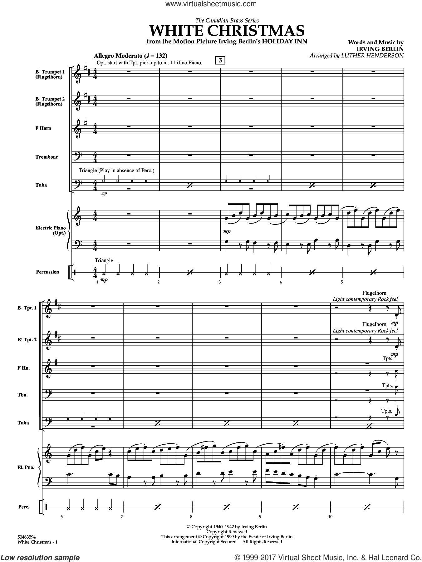 White Christmas (COMPLETE) sheet music for brass ensemble by Irving Berlin and Luther Henderson, intermediate. Score Image Preview.