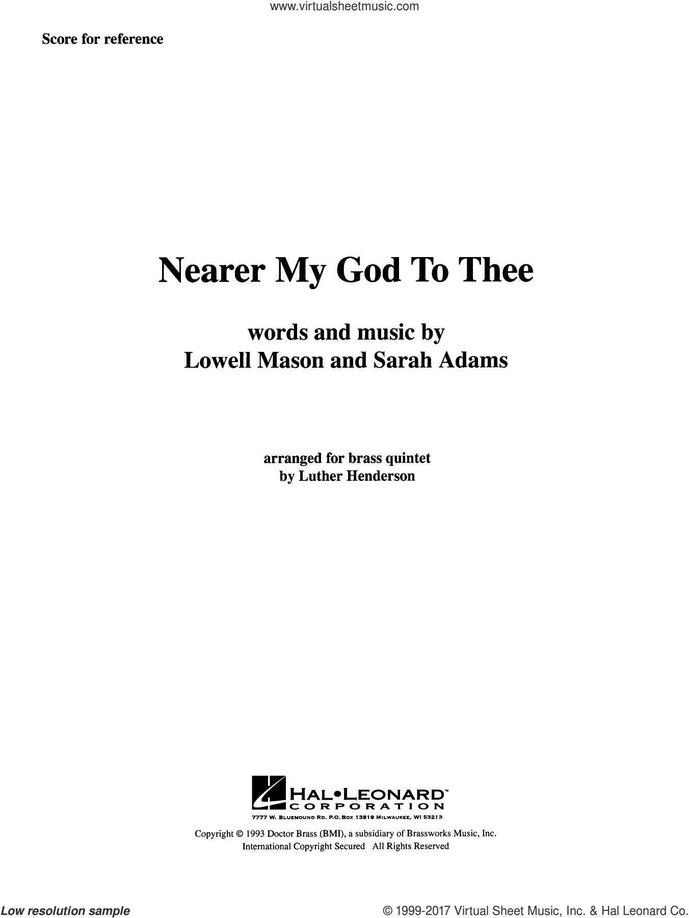 Nearer My God to Thee (COMPLETE) sheet music for brass quintet by Luther Henderson and Lowell Mason and Sarah Adams, classical score, intermediate