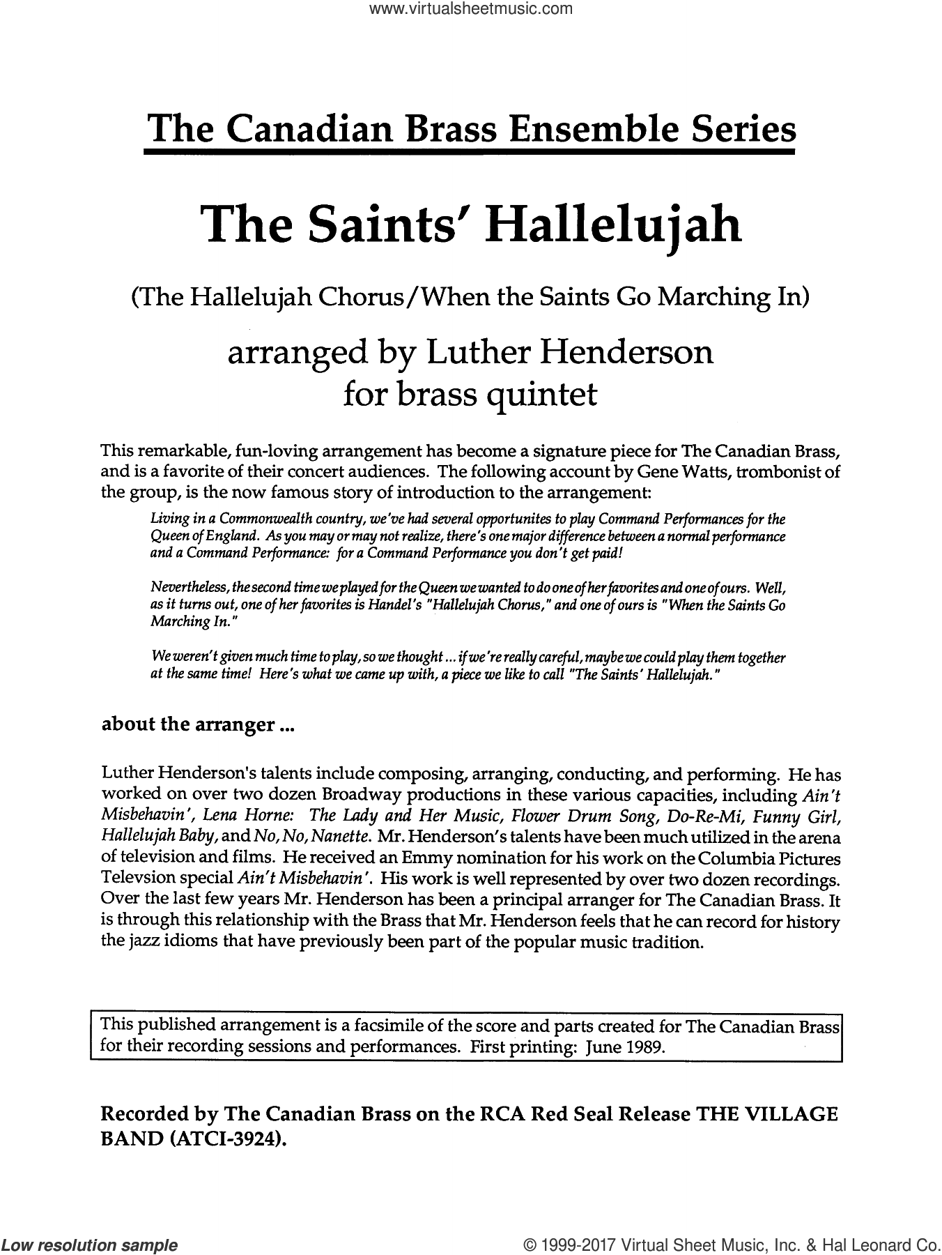 The Saints' Hallelujah (COMPLETE) sheet music for brass quintet by Luther Henderson, classical score, intermediate skill level