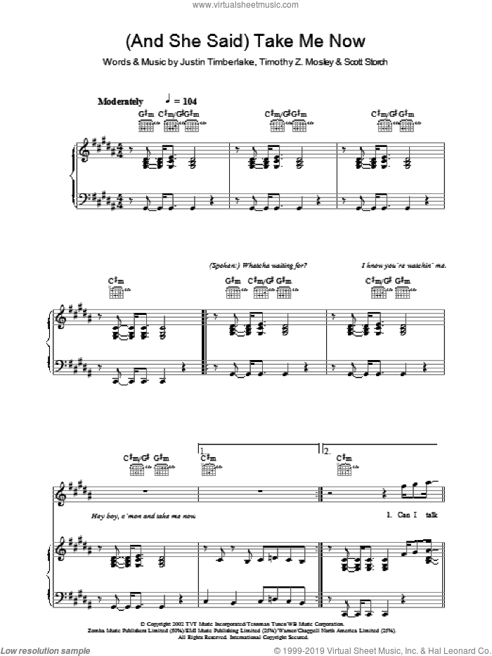 (And She Said) Take Me Now sheet music for voice, piano or guitar by Justin Timberlake, Scott Storch and Tim Mosley, intermediate voice, piano or guitar. Score Image Preview.