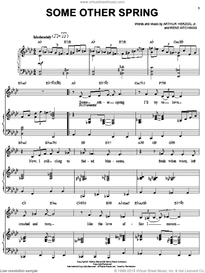 Some Other Spring sheet music for voice and piano by Arthur Herzog Jr. and Irene Kitchings, intermediate skill level