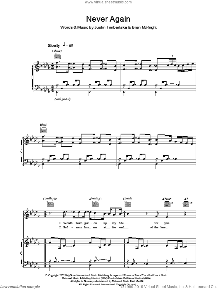Never Again sheet music for voice, piano or guitar by Justin Timberlake and Brian McKnight, intermediate skill level