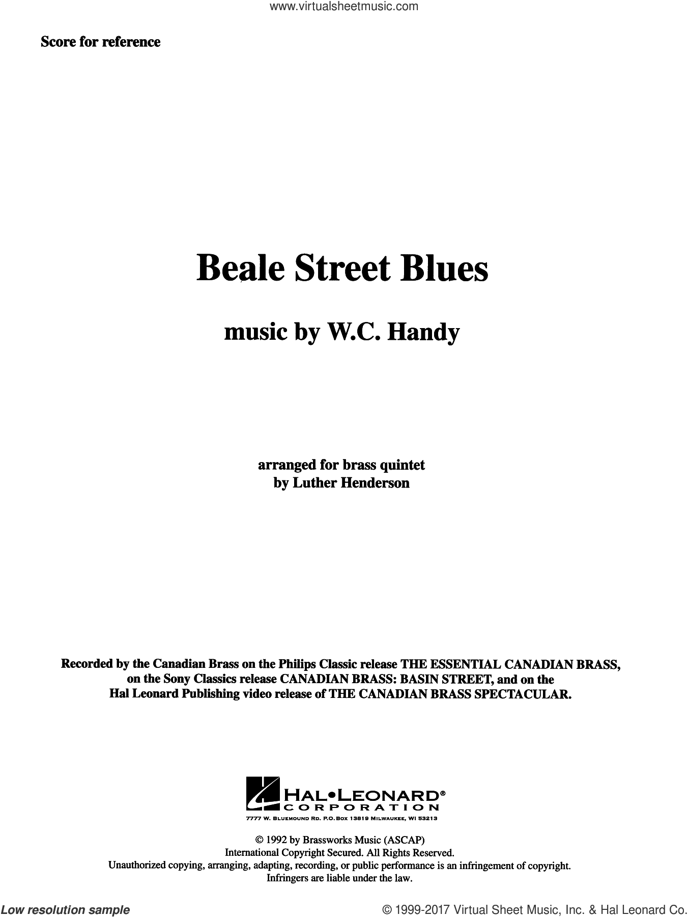 Beale Street Blues (COMPLETE) sheet music for brass quintet by W.C. Handy and Luther Henderson, intermediate. Score Image Preview.