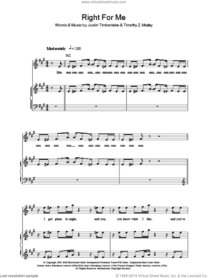Right For Me sheet music for voice, piano or guitar by Justin Timberlake, Tim Mosley and Warren Mathis, intermediate. Score Image Preview.