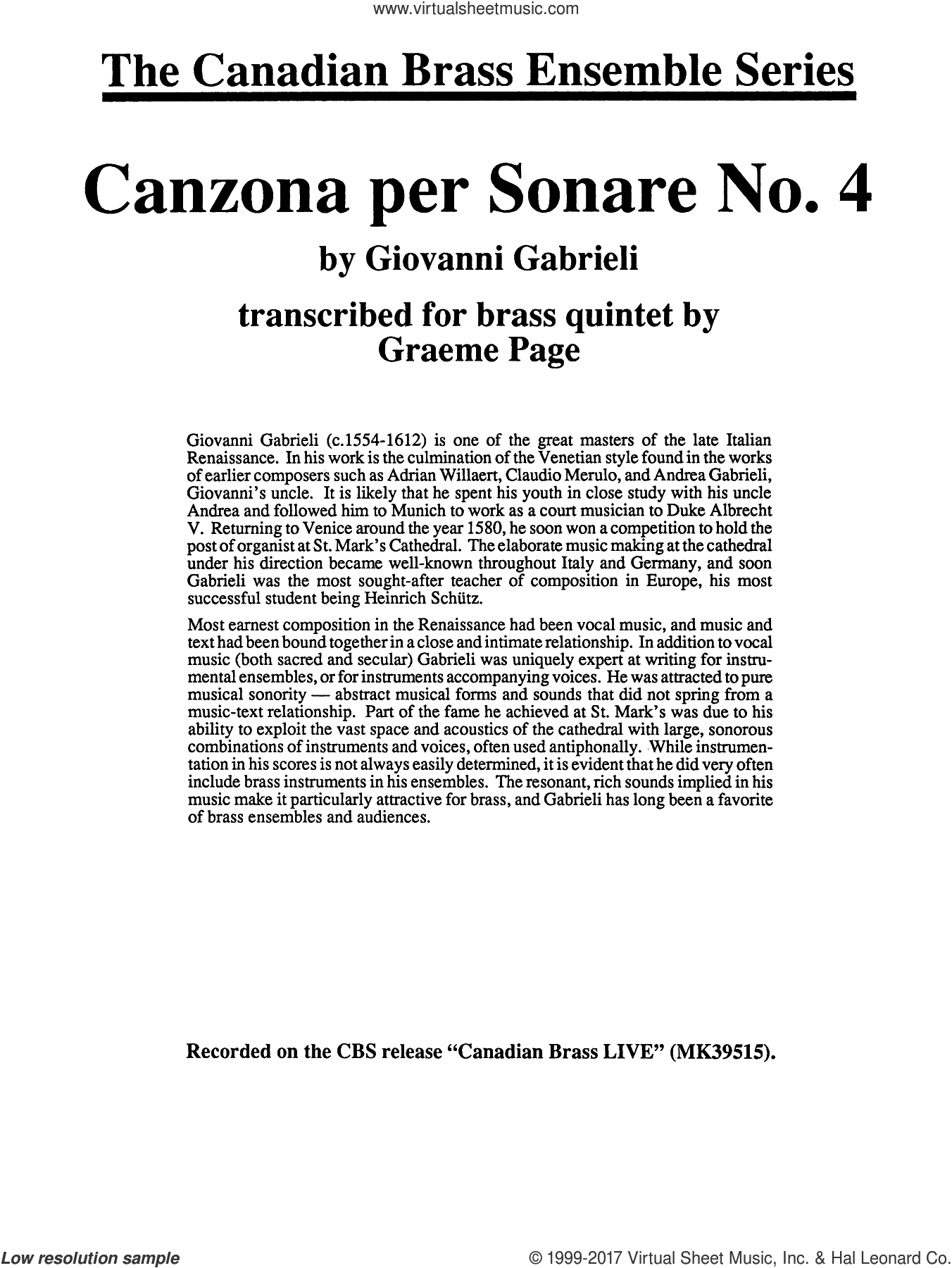 Canzona Per Sonare No. 4 (COMPLETE) sheet music for brass quintet by G. Gabrieli and Graeme Page, classical score, intermediate skill level