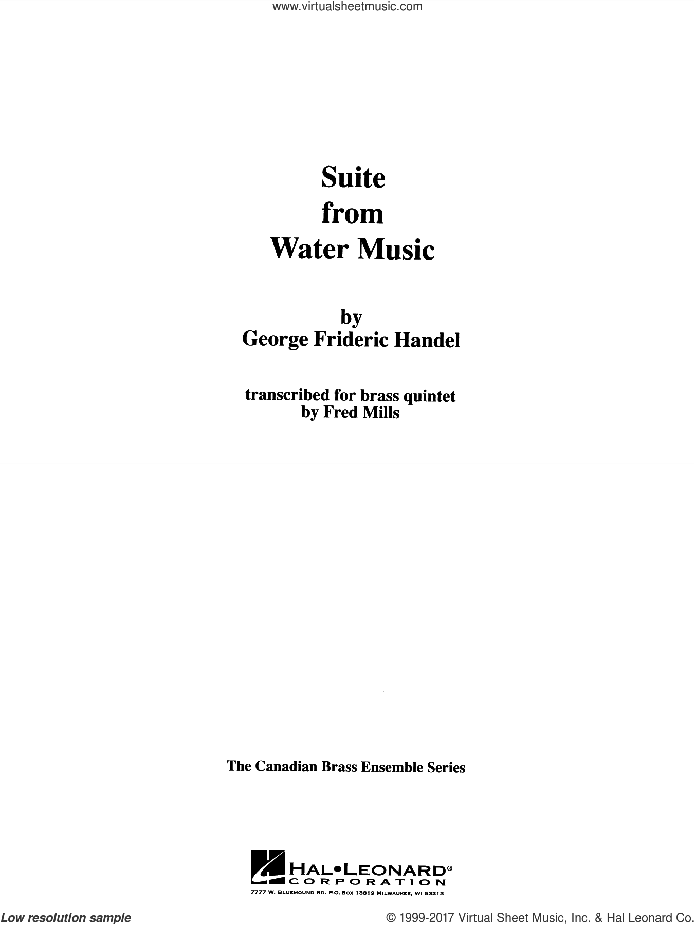 Suite from Water Music (COMPLETE) sheet music for brass quintet by George Frideric Handel and Frederick Mills, classical score, intermediate. Score Image Preview.