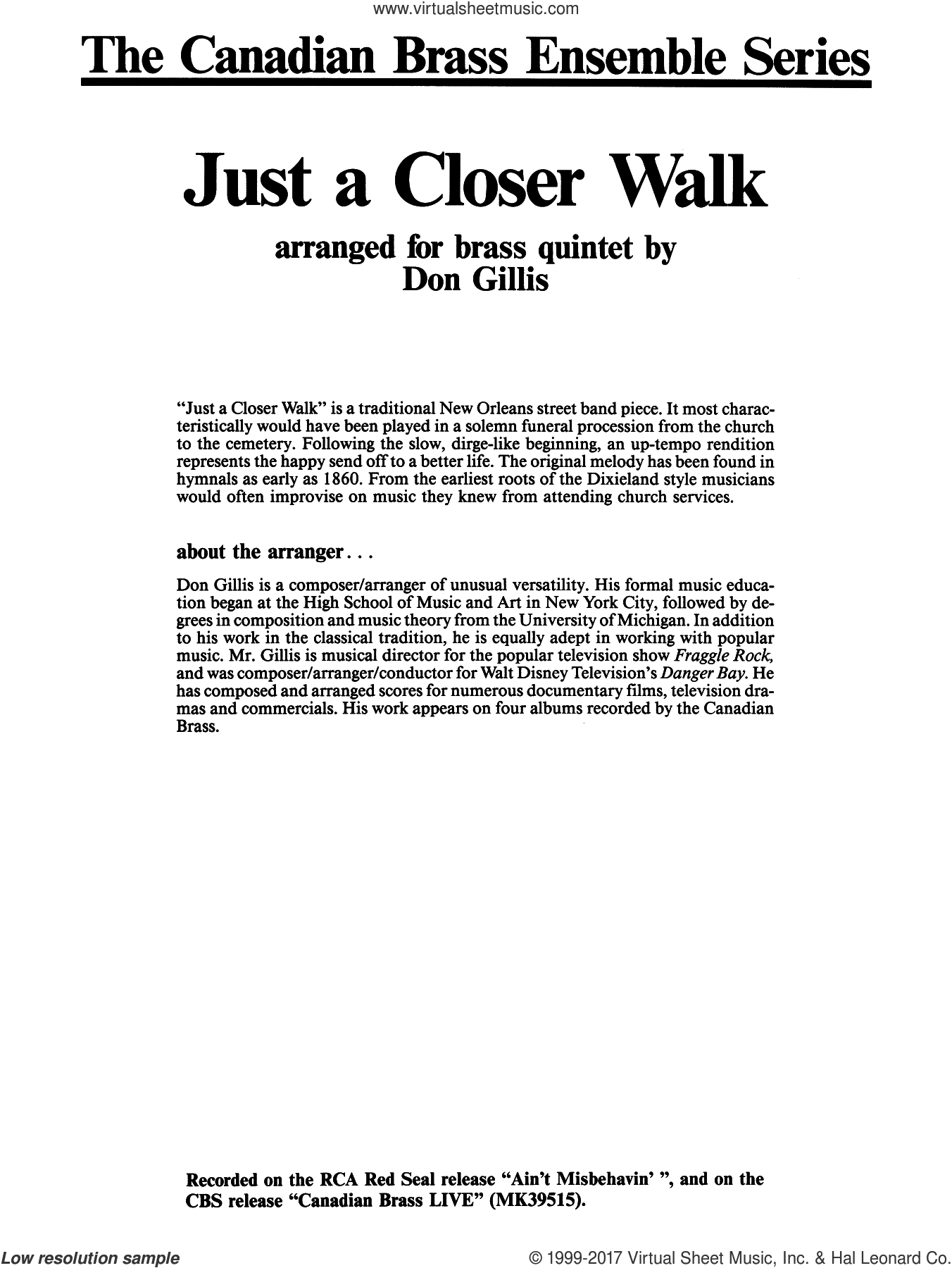 Just A Closer Walk With Thee (COMPLETE) sheet music for brass quintet by Don Gillis and Miscellaneous, classical score, intermediate