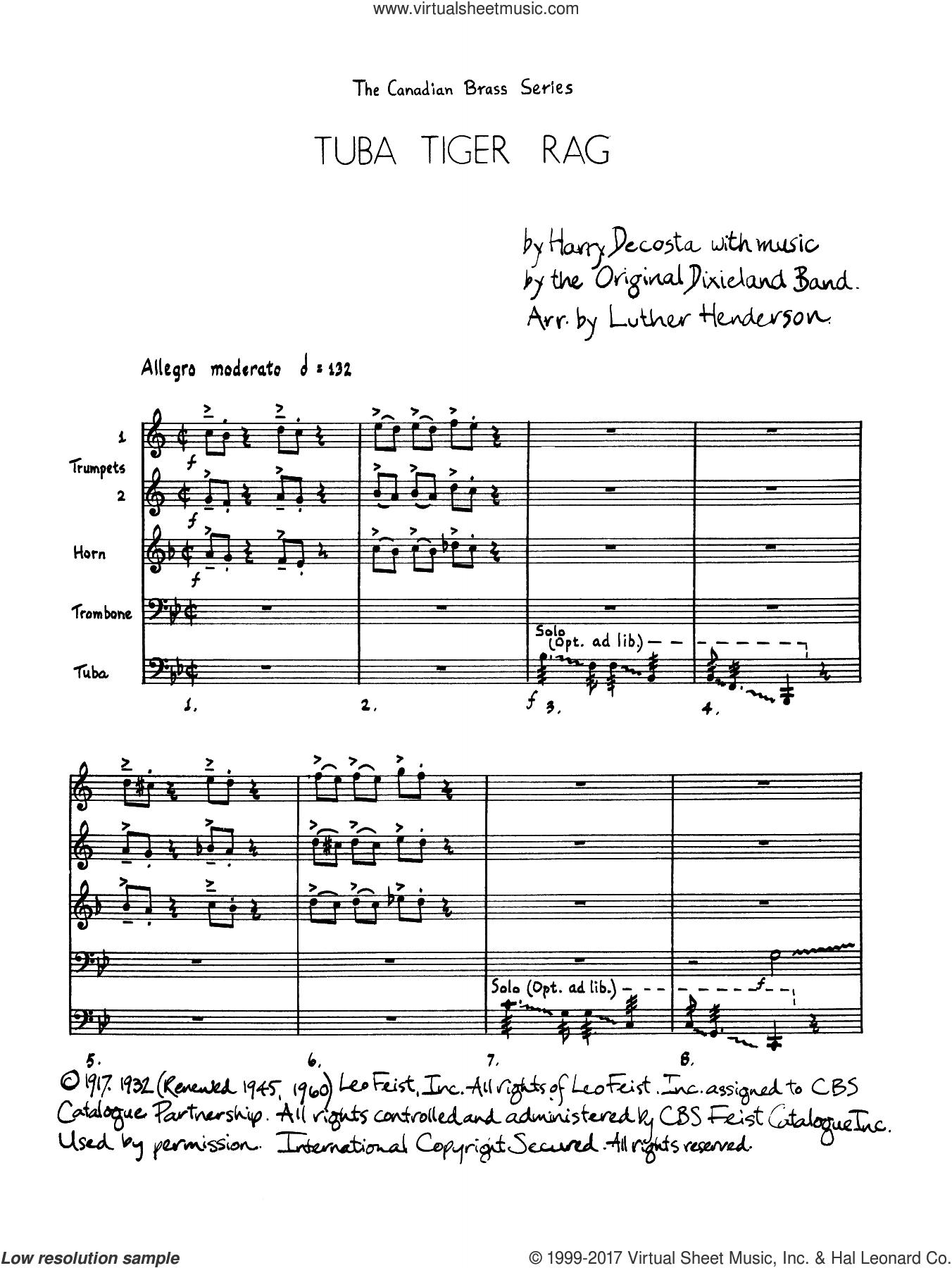 Tuba Tiger Rag (COMPLETE) sheet music for brass quintet by Luther Henderson and Harry DeCosta, intermediate skill level