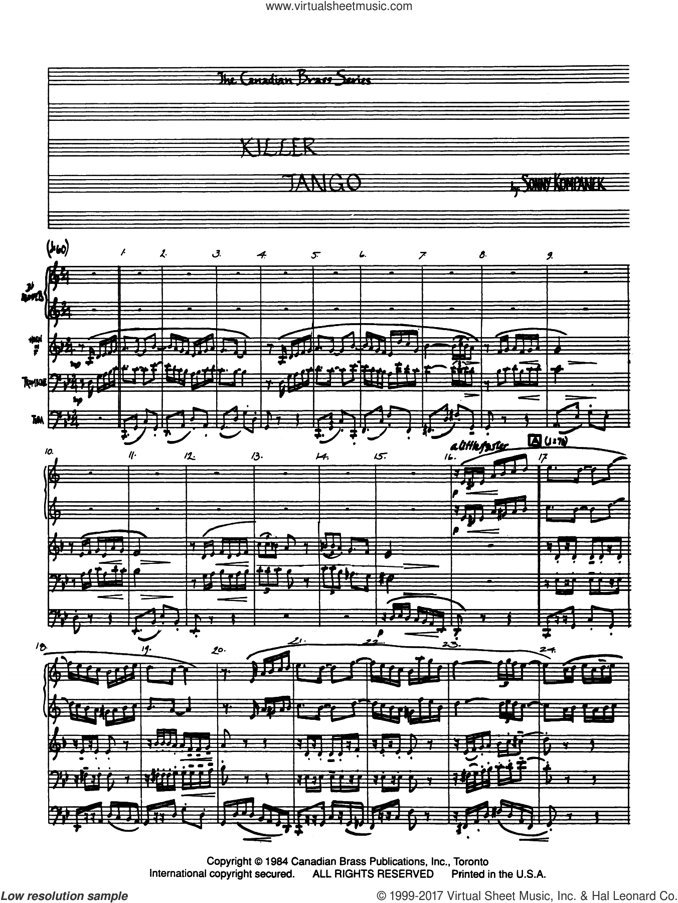 Killer Tango (COMPLETE) sheet music for brass quintet by Sonny Kompanek, classical score, intermediate. Score Image Preview.