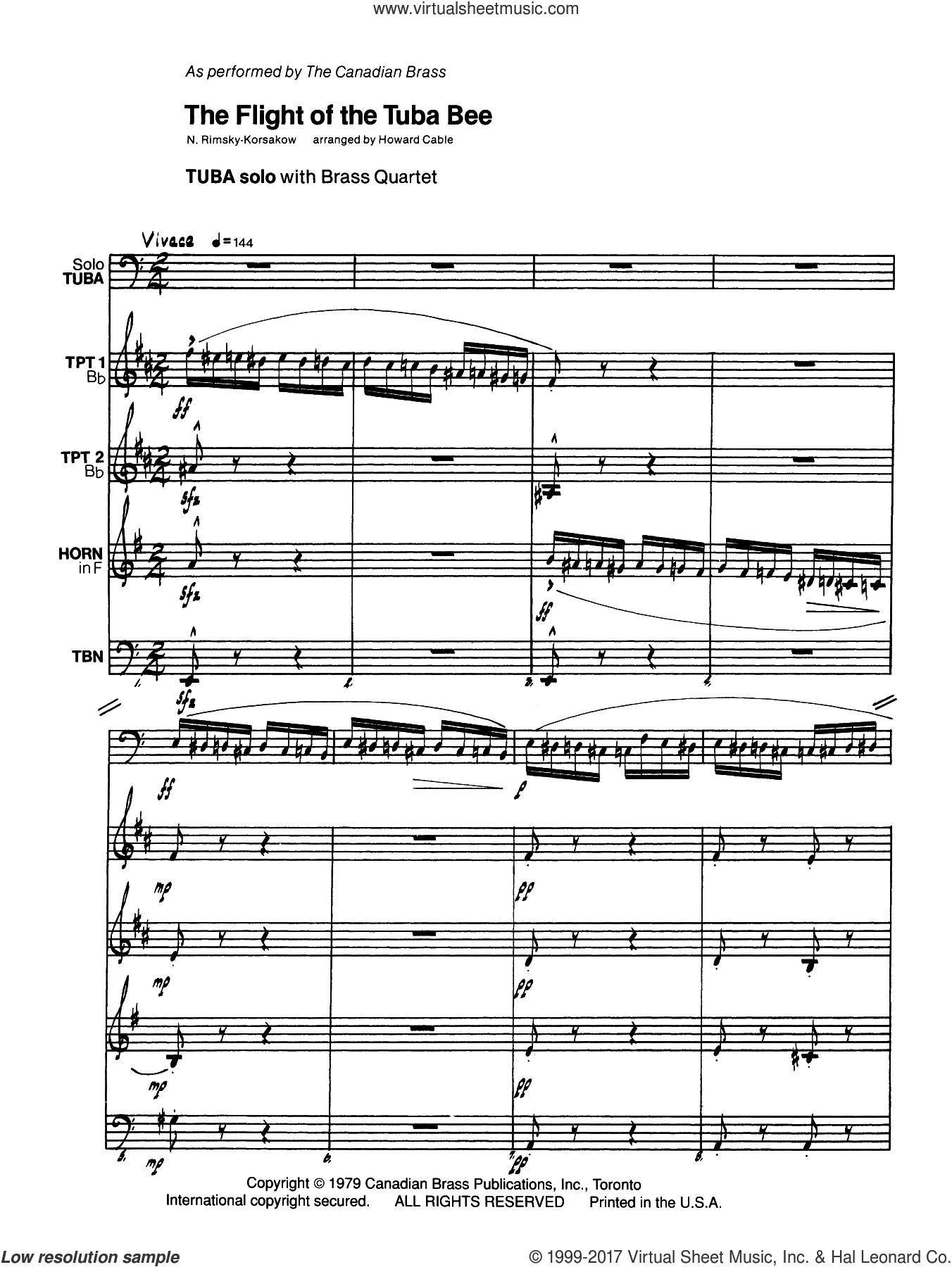 The Flight of the Tuba Bee (COMPLETE) sheet music for brass quintet by Howard Cable and N. Rimsky-Korsakow, classical score, intermediate skill level