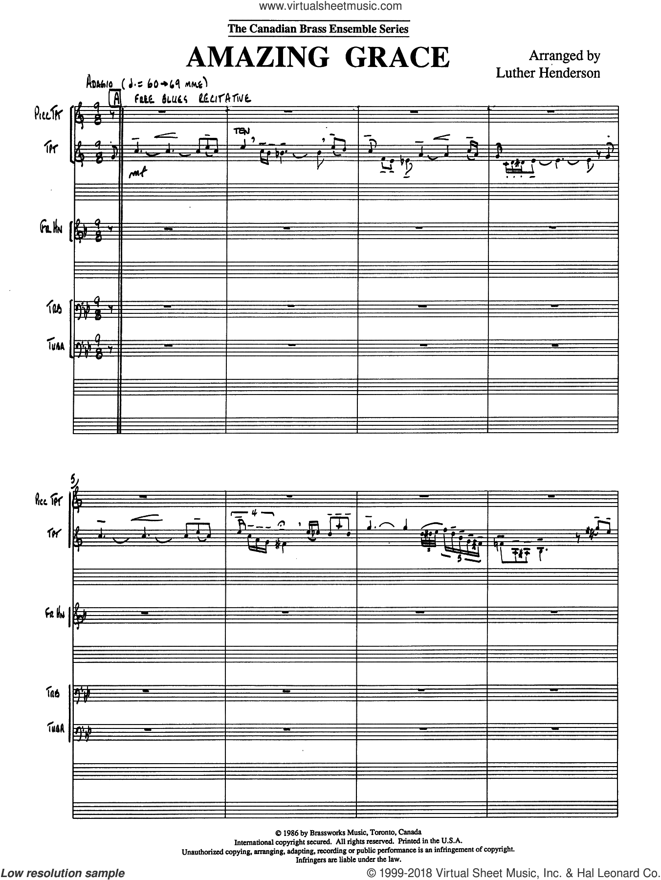 Amazing Grace (COMPLETE) sheet music for brass quintet by Luther Henderson and Miscellaneous, intermediate skill level