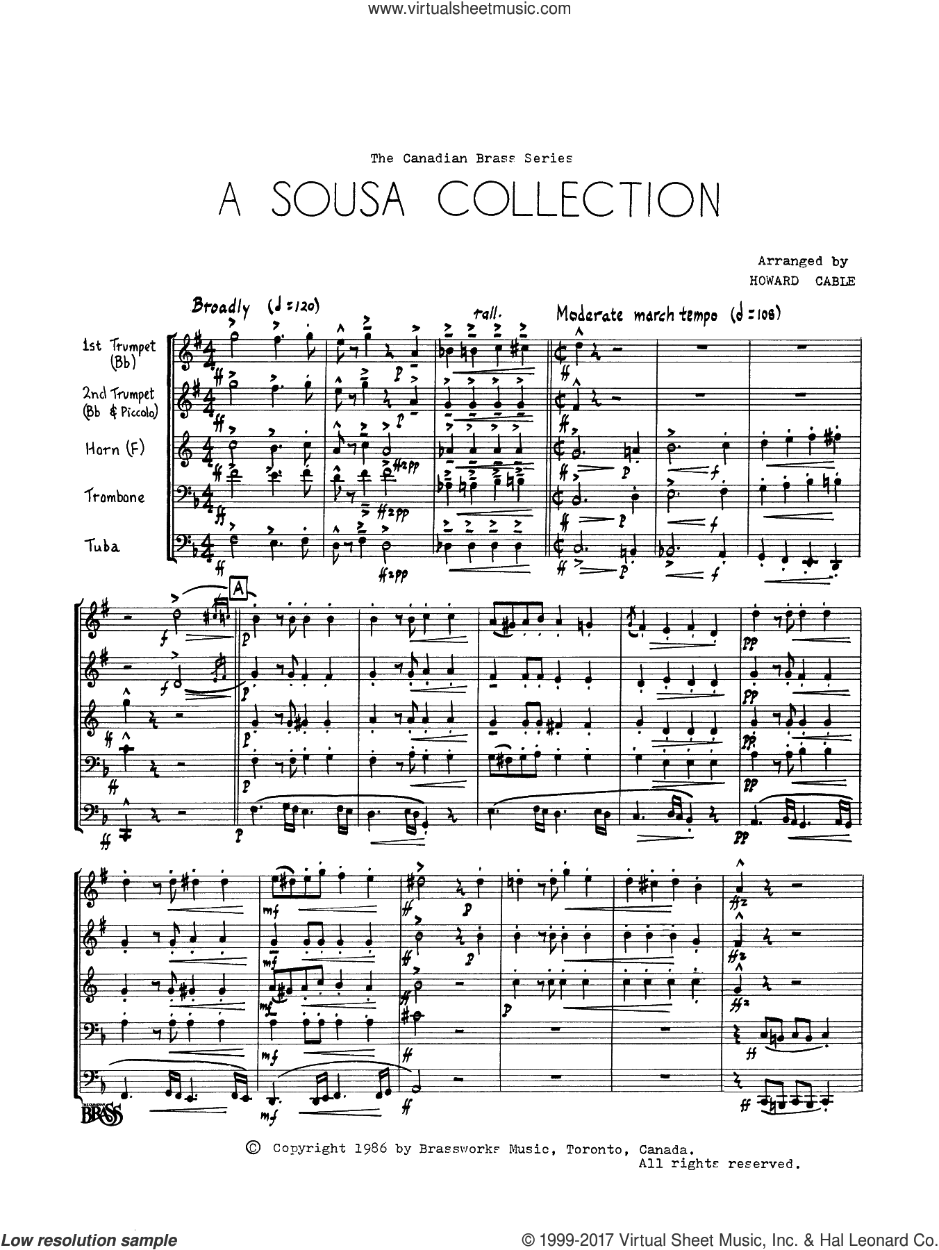 A Sousa Collection (COMPLETE) sheet music for brass quintet by John Philip Sousa and Howard Cable, intermediate skill level