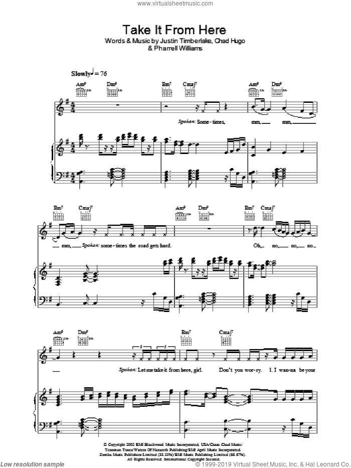 Take It From Here sheet music for voice, piano or guitar by Justin Timberlake, intermediate skill level