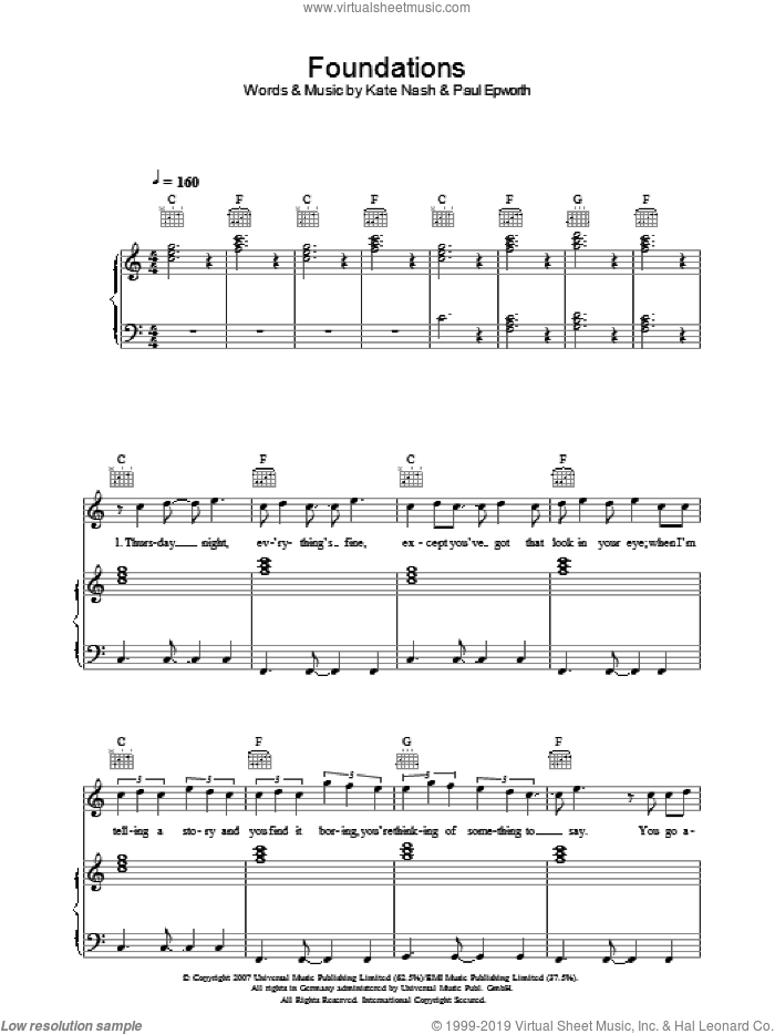Foundations sheet music for voice, piano or guitar by Paul Epworth