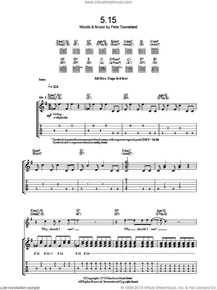 5:15 sheet music for guitar (tablature) by Pete Townshend and The Who. Score Image Preview.
