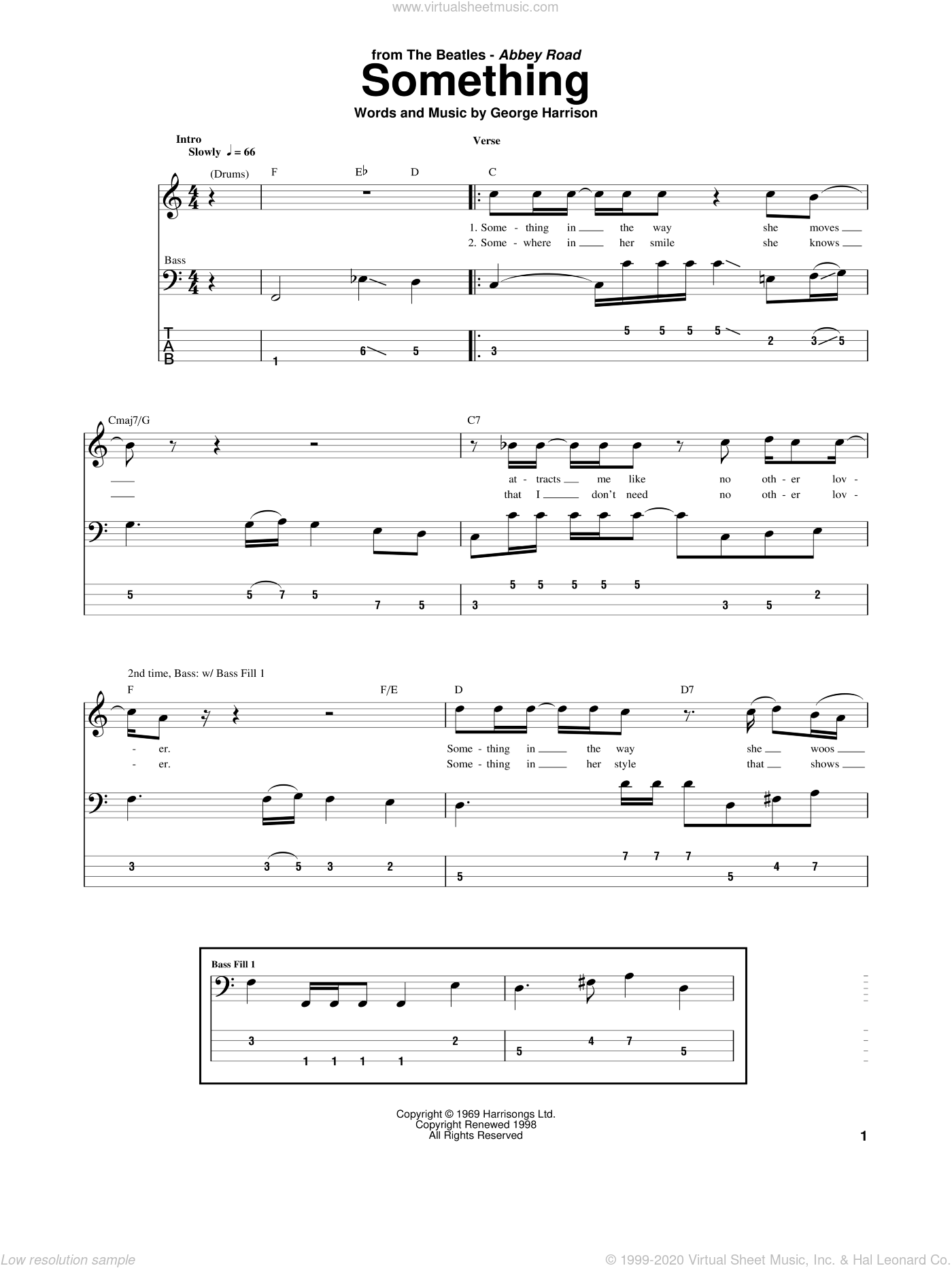 Something sheet music for bass (tablature) (bass guitar) by George Harrison and The Beatles. Score Image Preview.