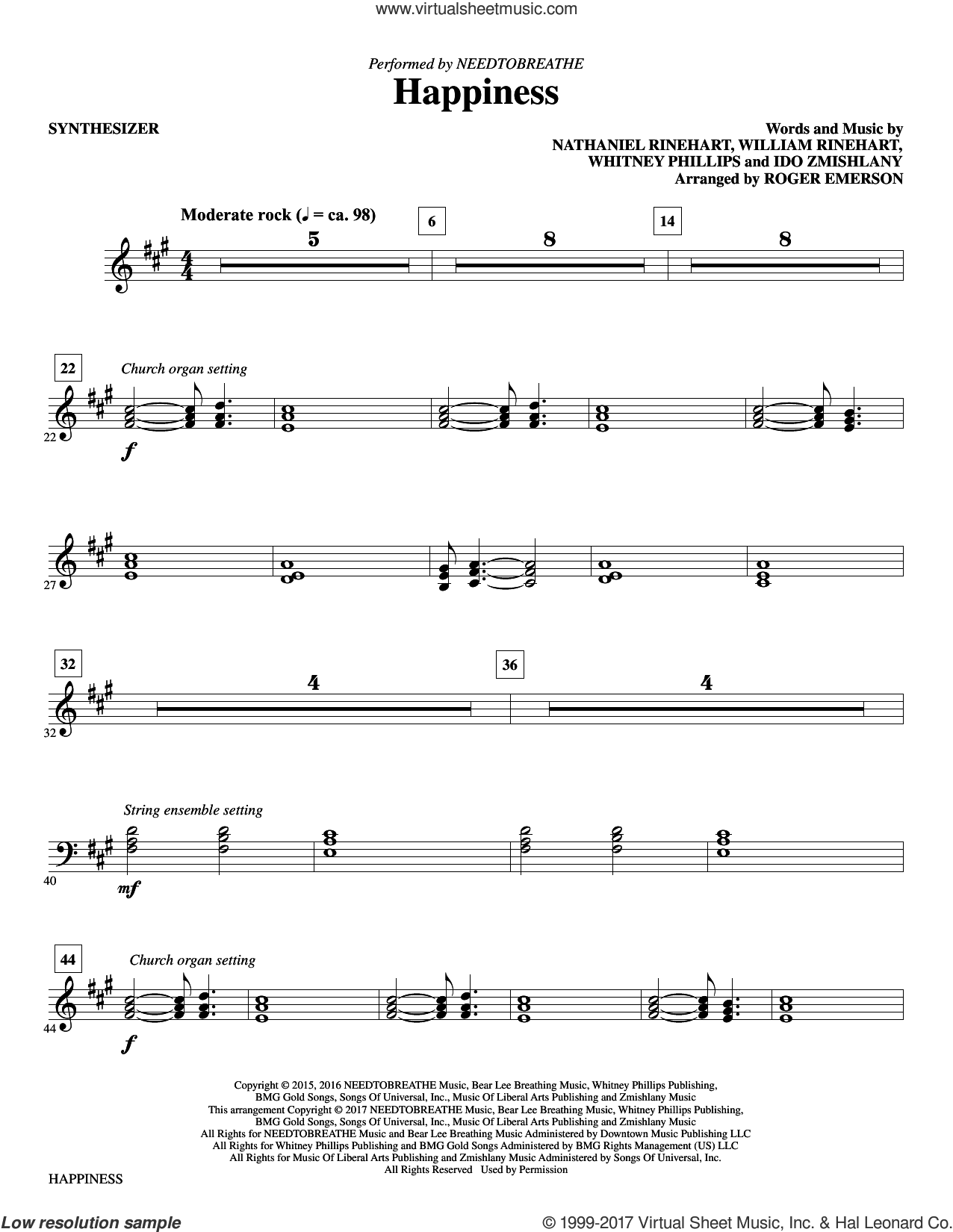 Happiness (complete set of parts) sheet music for orchestra/band by Roger Emerson, Ido Zmishlany, Nathaniel Rinehart, NEEDTOBREATHE, Whitney Phillips and William Rinehart, intermediate. Score Image Preview.