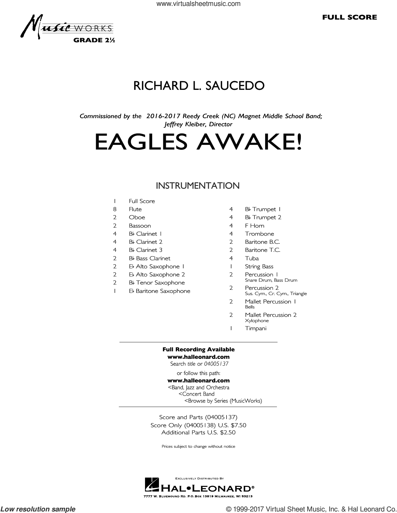 Eagles Awake! (COMPLETE) sheet music for concert band by Richard L. Saucedo, intermediate. Score Image Preview.