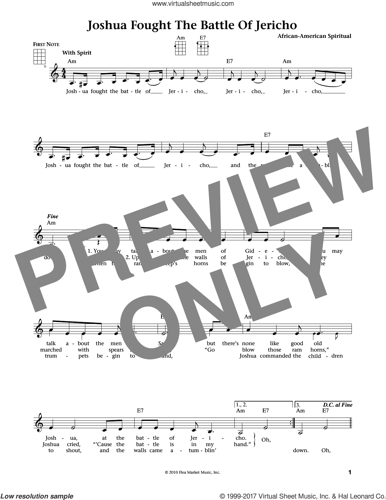 Joshua (Fit The Battle Of Jericho) sheet music for ukulele , Jim Beloff and Liz Beloff, intermediate skill level