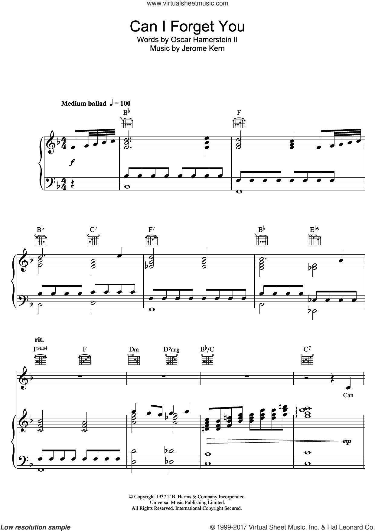 Can I Forget You? sheet music for voice, piano or guitar by Andy Williams and Jerome Kern, intermediate voice, piano or guitar. Score Image Preview.