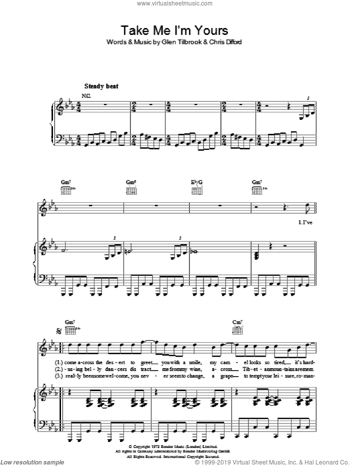 Take Me I'm Yours sheet music for voice, piano or guitar by Squeeze, Chris Difford and Glenn Tilbrook, intermediate skill level