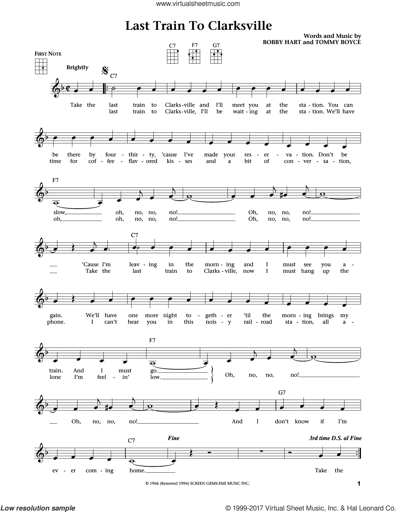 Last Train To Clarksville sheet music for ukulele by The Monkees, Jim Beloff, Liz Beloff, Bobby Hart and Tommy Boyce, intermediate skill level