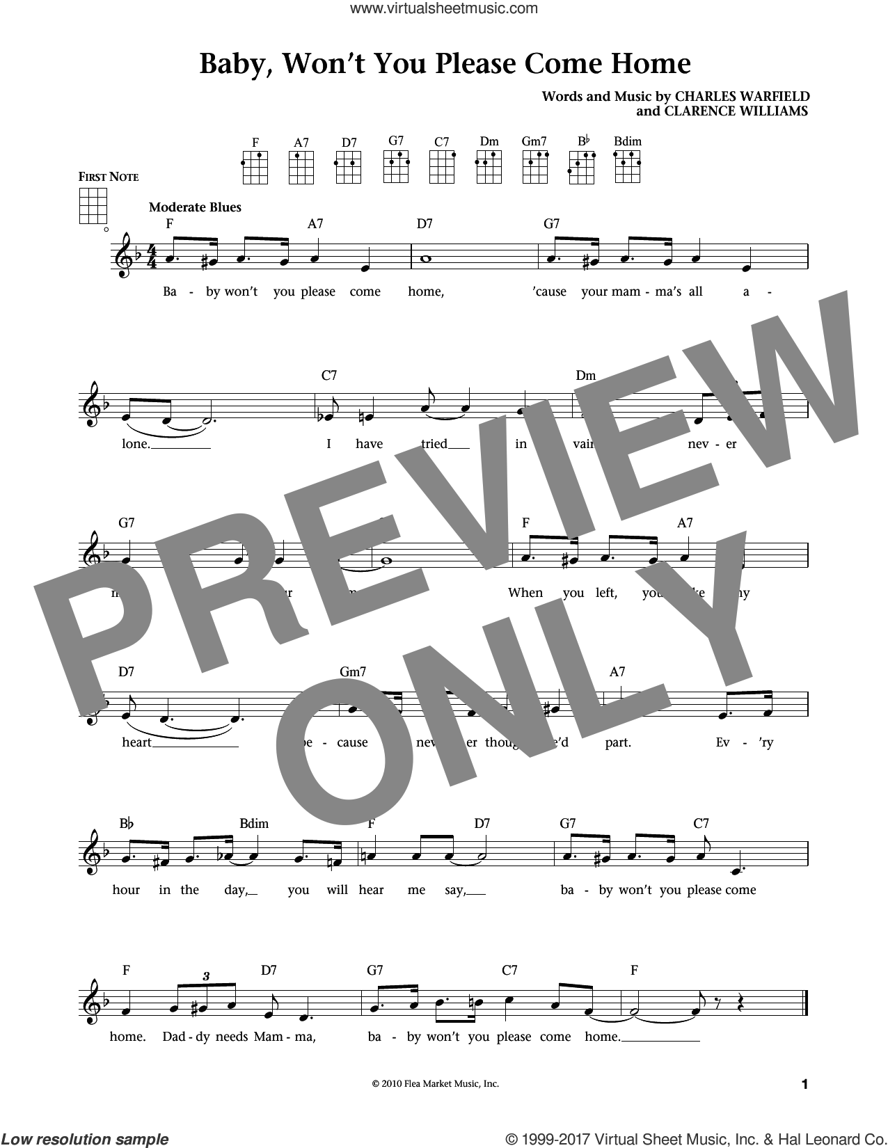 Baby, Won't You Please Come Home sheet music for ukulele by Clarence Williams, Bessie Smith and Charles Warfield, intermediate. Score Image Preview.