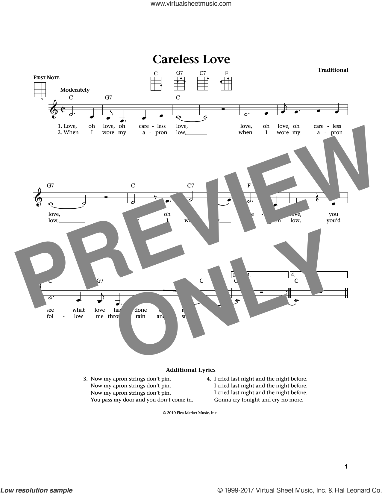 Careless Love sheet music for ukulele by Anonymous, Jim Beloff and Liz Beloff, intermediate. Score Image Preview.