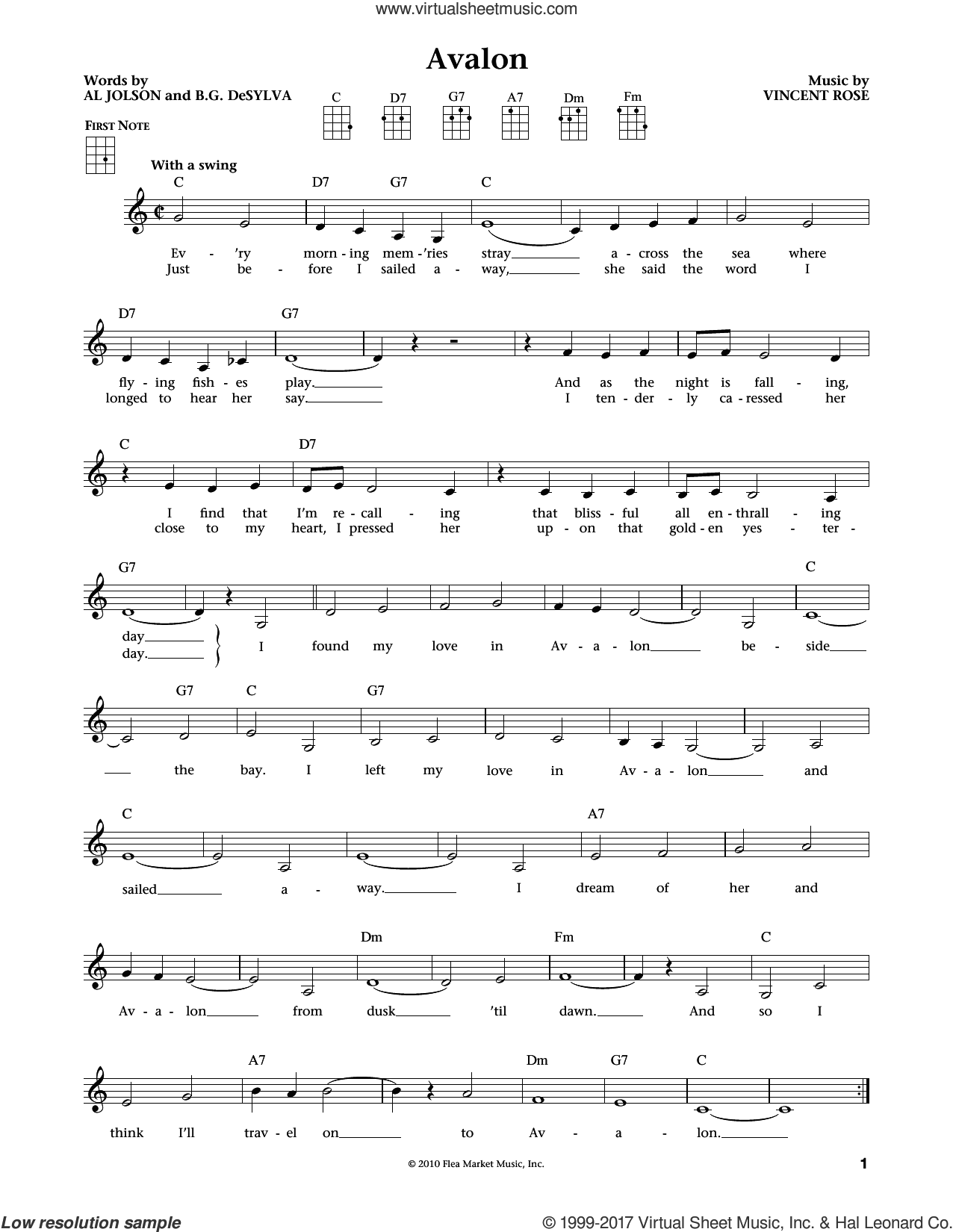 Avalon sheet music for ukulele by Buddy DeSylva, Jim Beloff, Liz Beloff, Al Jolson and Vincent Rose, intermediate
