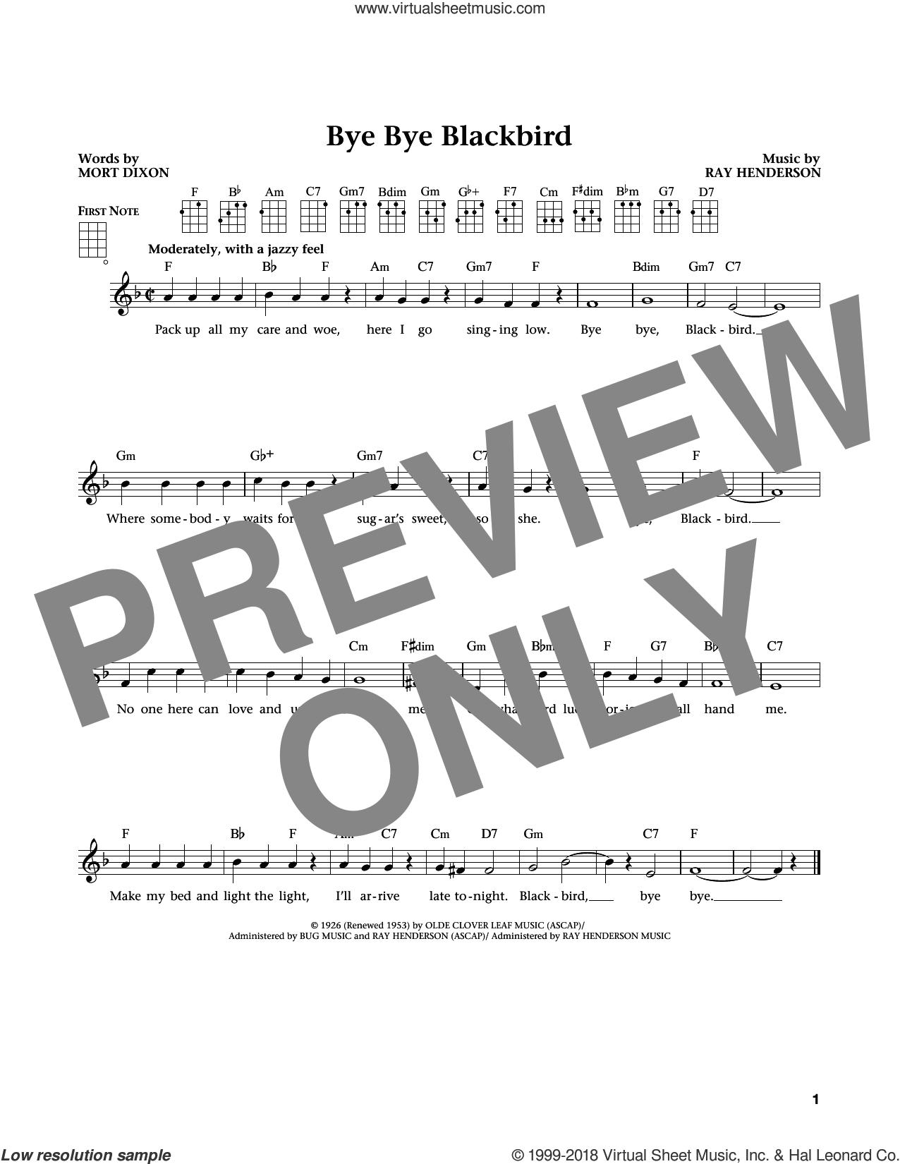 Bye Bye Blackbird (from The Daily Ukulele) (arr. Liz and Jim Beloff) sheet music for ukulele by Ray Henderson, Jim Beloff, Liz Beloff and Mort Dixon, intermediate skill level