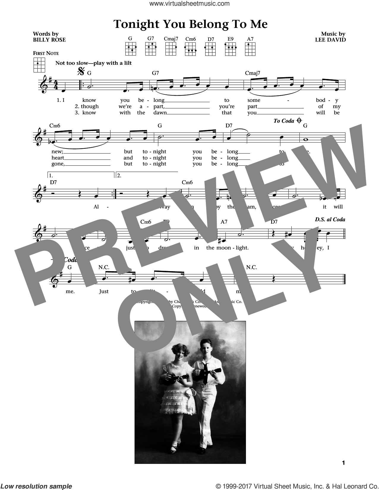 Tonight You Belong To Me (from The Daily Ukulele) (arr. Liz and Jim Beloff) sheet music for ukulele by Patience & Prudence, Jim Beloff, Liz Beloff, Billy Rose and Lee David, intermediate skill level