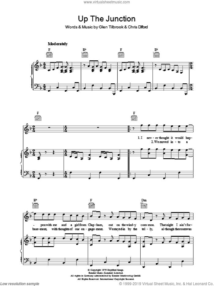 Up The Junction sheet music for voice, piano or guitar by Squeeze, Chris Difford and Glenn Tilbrook, intermediate skill level