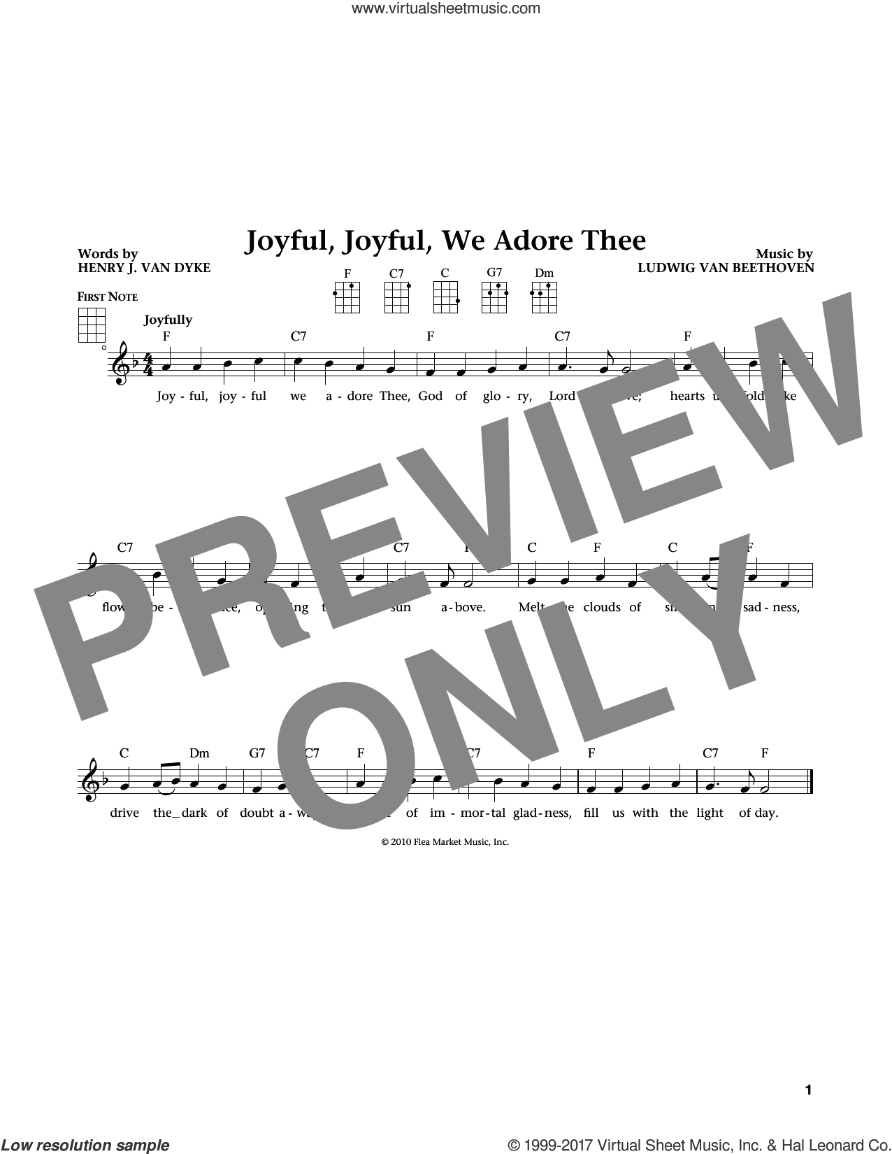 Joyful, Joyful, We Adore Thee sheet music for ukulele by Ludwig van Beethoven and Edward Hodges, classical score, intermediate. Score Image Preview.