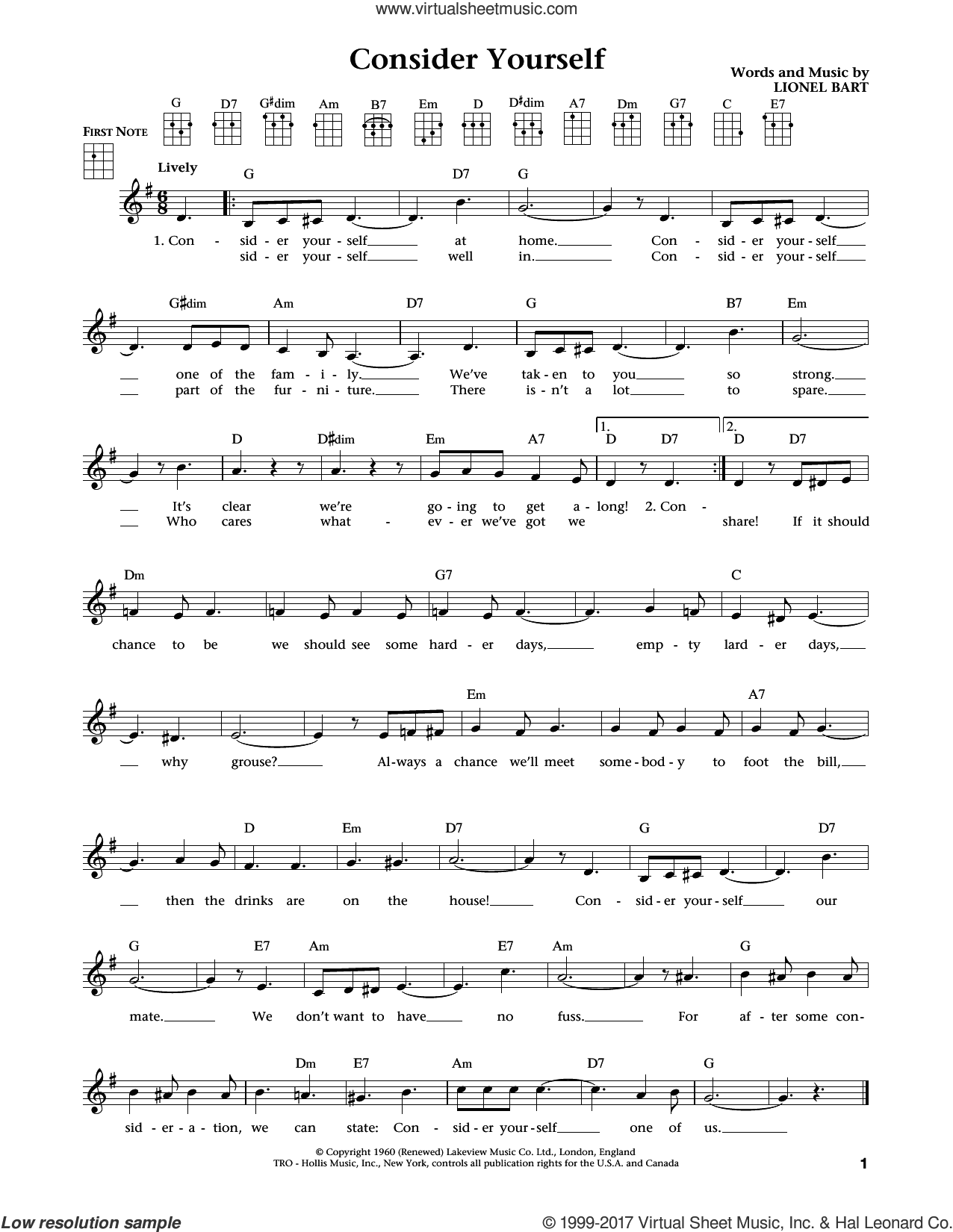 Consider Yourself (from The Daily Ukulele) (arr. Liz and Jim Beloff) sheet music for ukulele by Lionel Bart, Jim Beloff, Liz Beloff, Mark Lester, Jack Wild and Michael Goodman, Bruce Prochnik, intermediate skill level