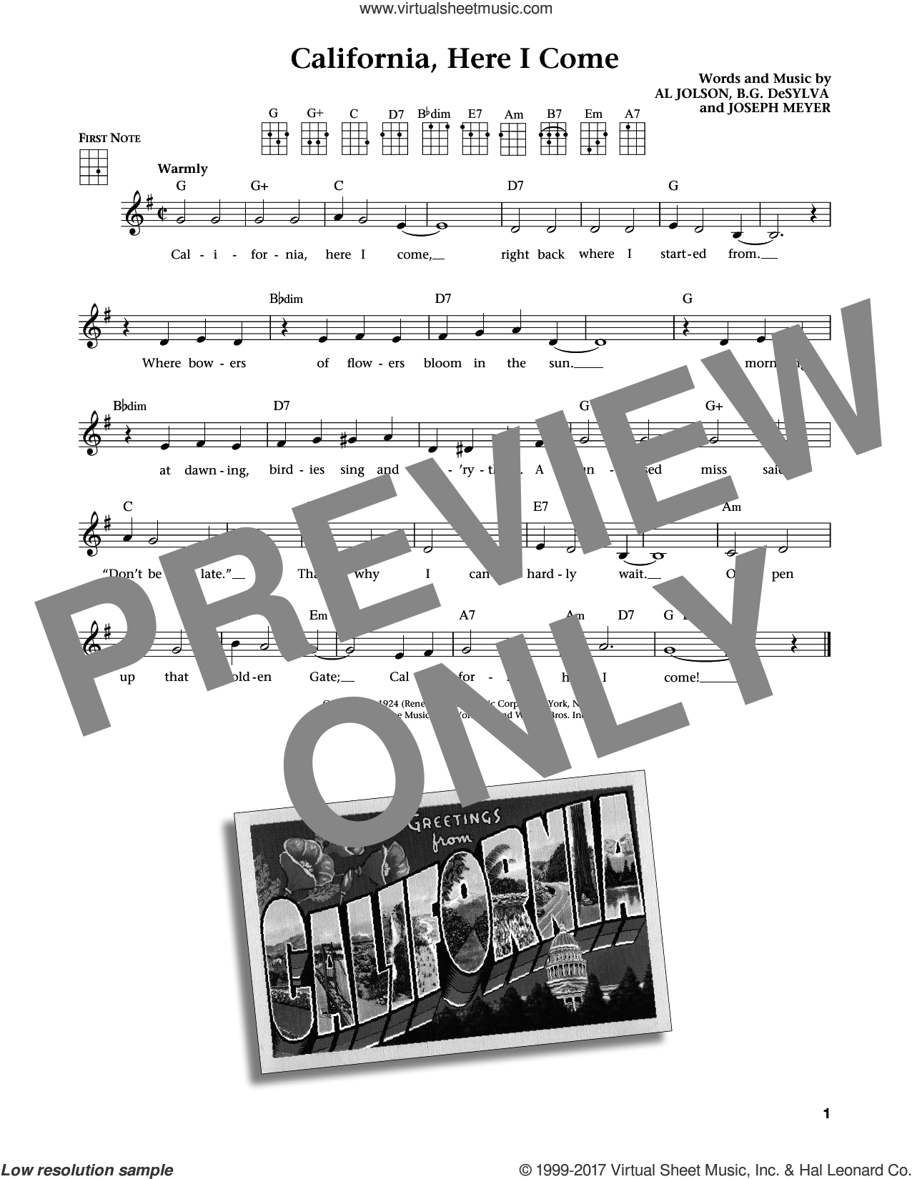 California, Here I Come sheet music for ukulele by Benny Goodman & His Orchestra, Al Jolson, Buddy DeSylva and Joseph Meyer. Score Image Preview.