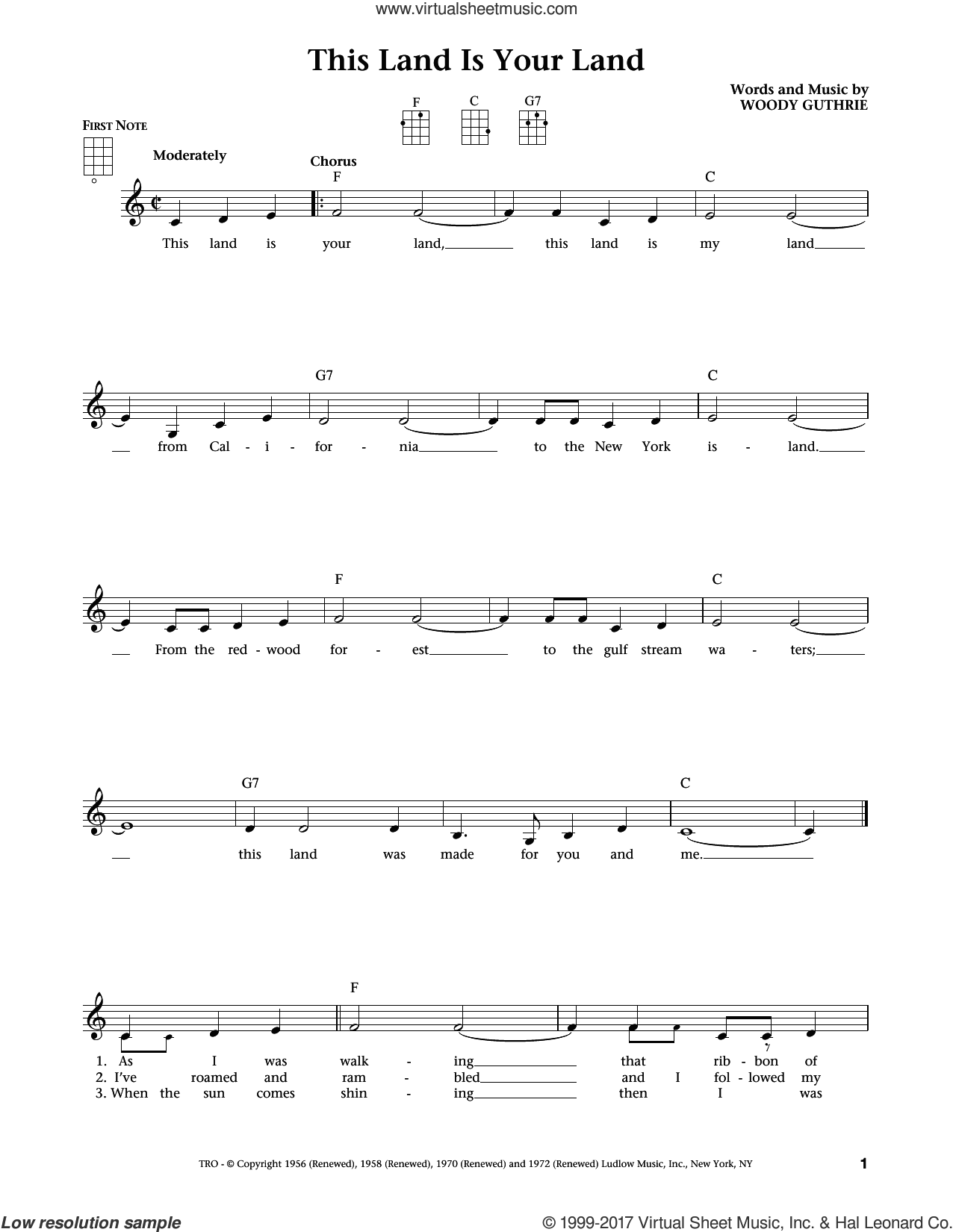This Land Is Your Land (from The Daily Ukulele) (arr. Liz and Jim Beloff) sheet music for ukulele by Woody Guthrie, Jim Beloff and Liz Beloff, intermediate skill level