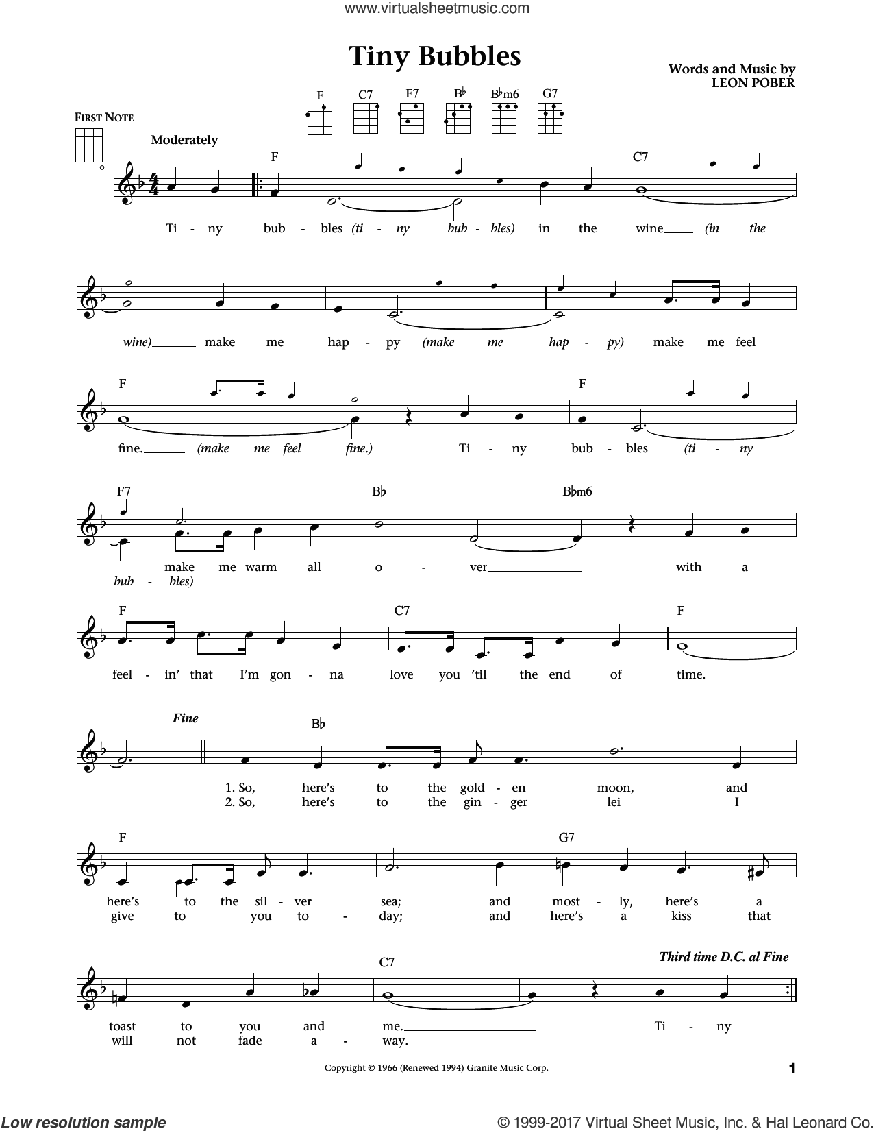 Tiny Bubbles sheet music for ukulele by Leon Pober, intermediate. Score Image Preview.