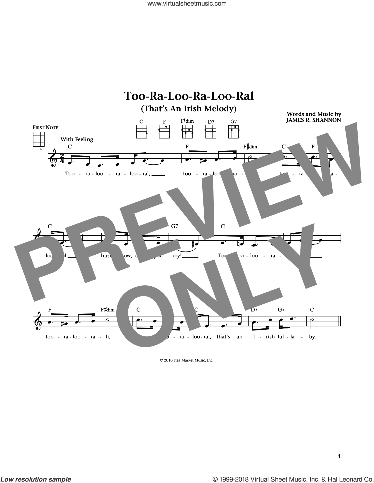 Too-Ra-Loo-Ra-Loo-Ral (That's An Irish Lullaby) (from The Daily Ukulele) (arr. Liz and Jim Beloff) sheet music for ukulele by James R. Shannon, Jim Beloff and Liz Beloff, intermediate skill level