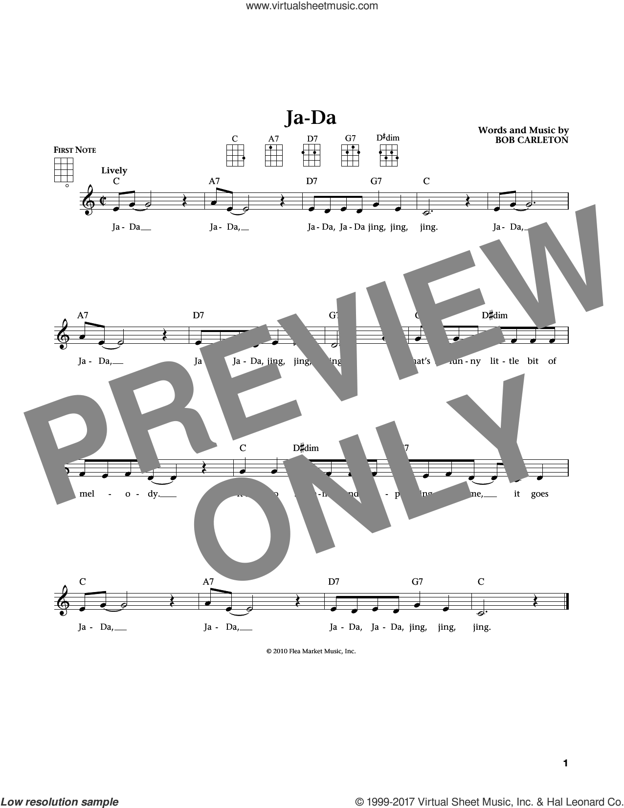 Ja-Da (from The Daily Ukulele) (arr. Liz and Jim Beloff) sheet music for ukulele by Bob Carleton, Jim Beloff and Liz Beloff, intermediate skill level