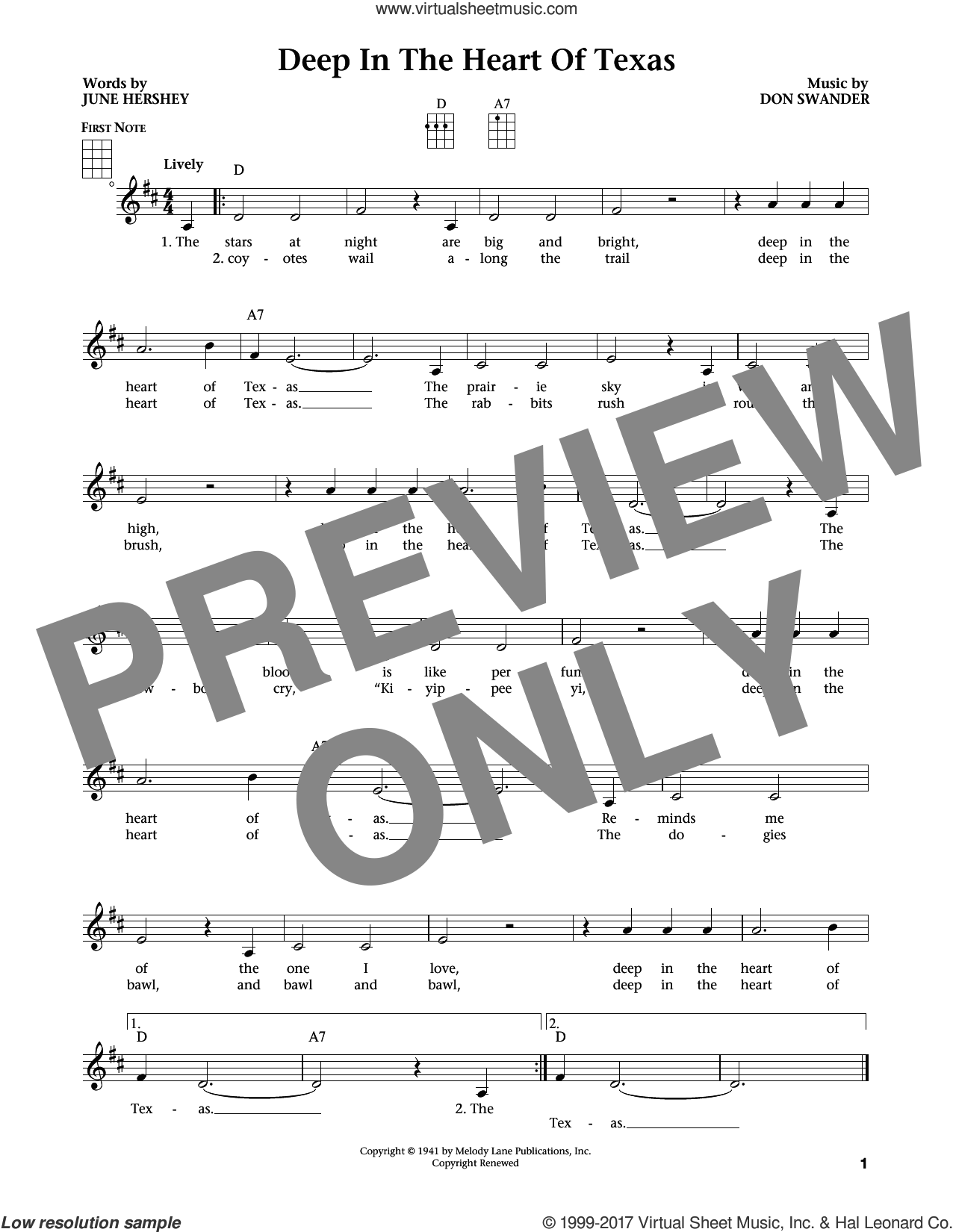 Deep In The Heart Of Texas (from The Daily Ukulele) (arr. Liz and Jim Beloff) sheet music for ukulele by Bing Crosby, Jim Beloff, Liz Beloff, Alvino Rey & His Orchestra, Don Swander and June Hershey, intermediate skill level