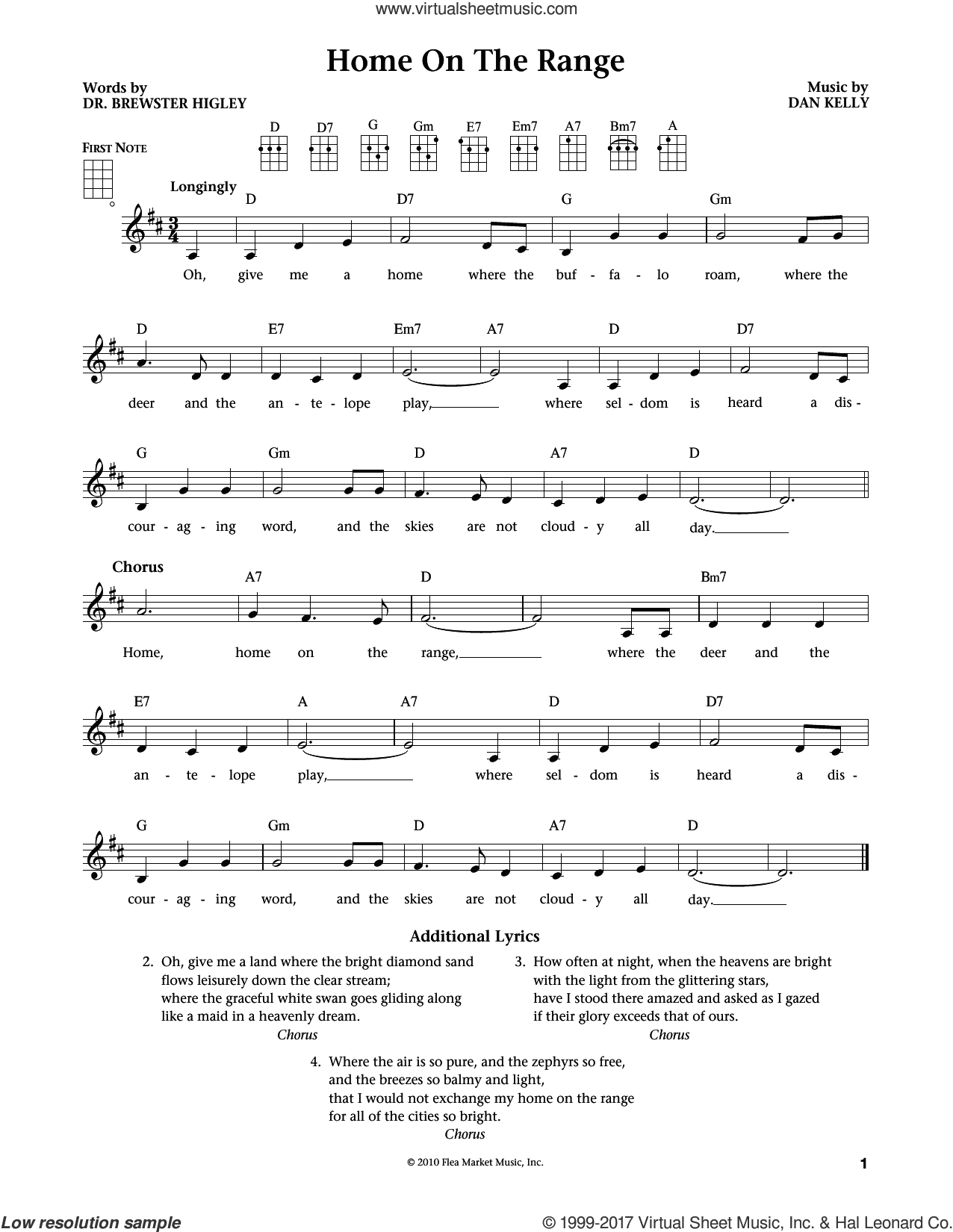 Home On The Range (from The Daily Ukulele) (arr. Liz and Jim Beloff) sheet music for ukulele by Dan Kelly, Jim Beloff, Liz Beloff and Dr. Brewster Higley, intermediate skill level