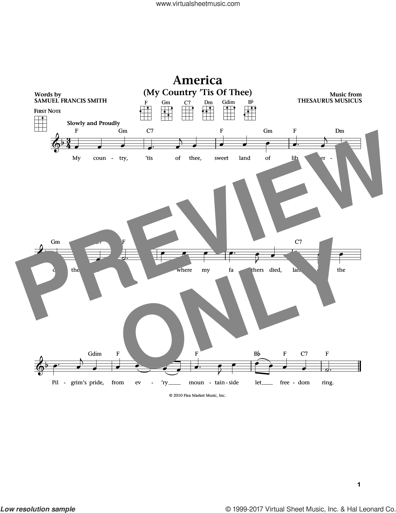 My Country, 'Tis Of Thee (America) sheet music for ukulele by Thesaurus Musicus and Samuel Francis Smith, intermediate ukulele. Score Image Preview.