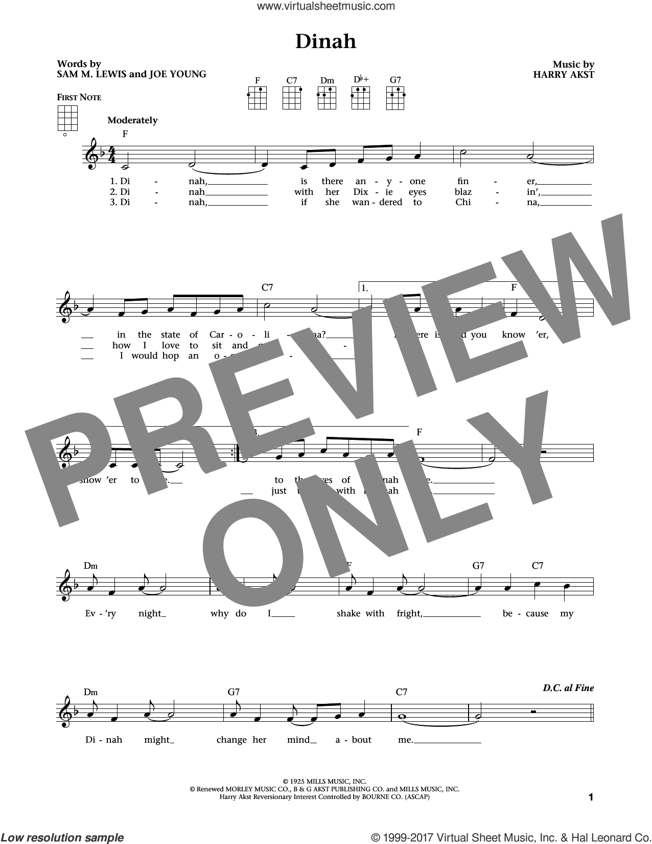 Dinah sheet music for ukulele by Harry Akst, Jim Beloff, Liz Beloff, Joe Young and Sam Lewis, intermediate skill level