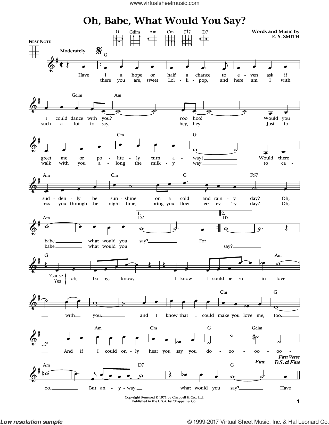 Oh, Babe, What Would You Say? sheet music for ukulele by Hurricane Smith, intermediate. Score Image Preview.