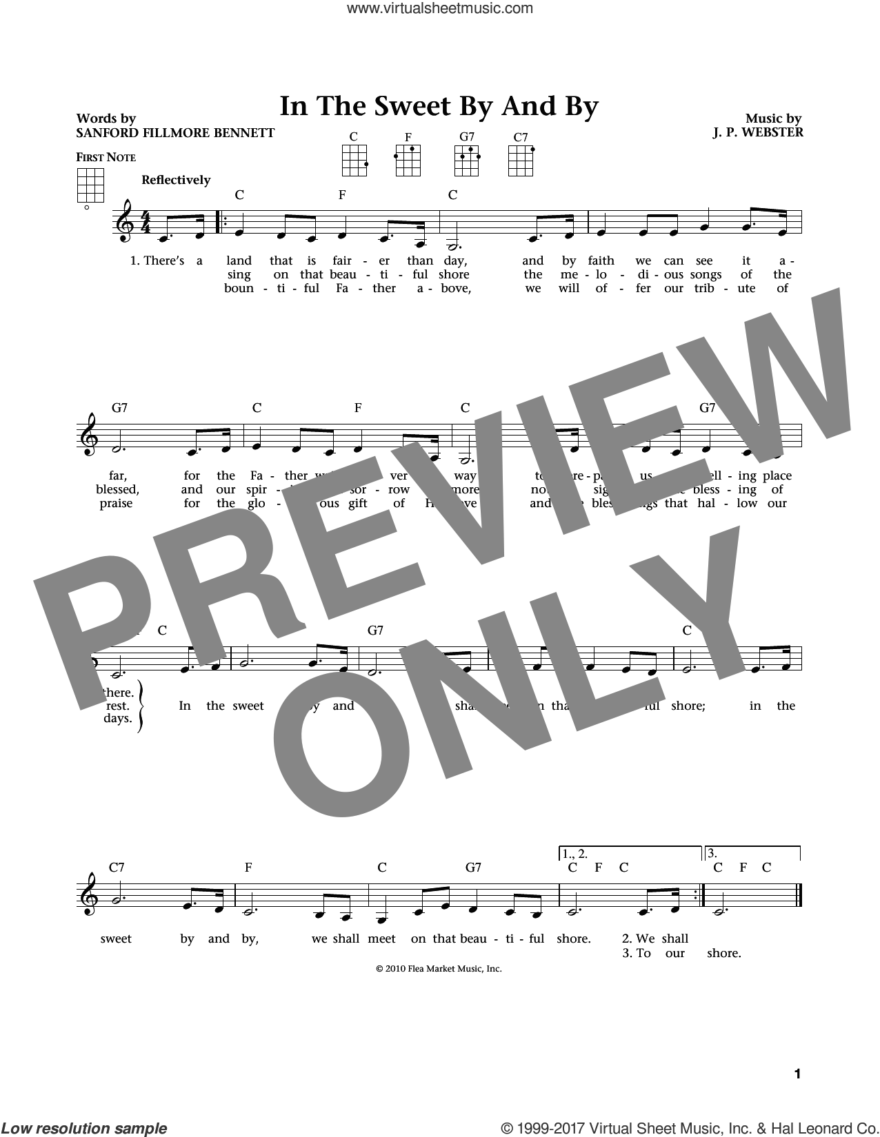 Sweet By And By sheet music for ukulele by Joseph P. Webster, Jim Beloff, Liz Beloff and Sanford Fillmore Bennett, intermediate skill level
