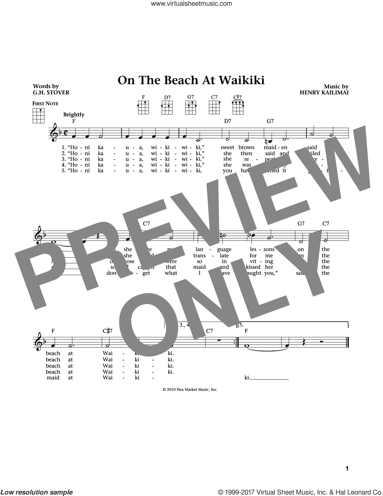 On The Beach At Waikiki sheet music for ukulele by G.H. Stover. Score Image Preview.