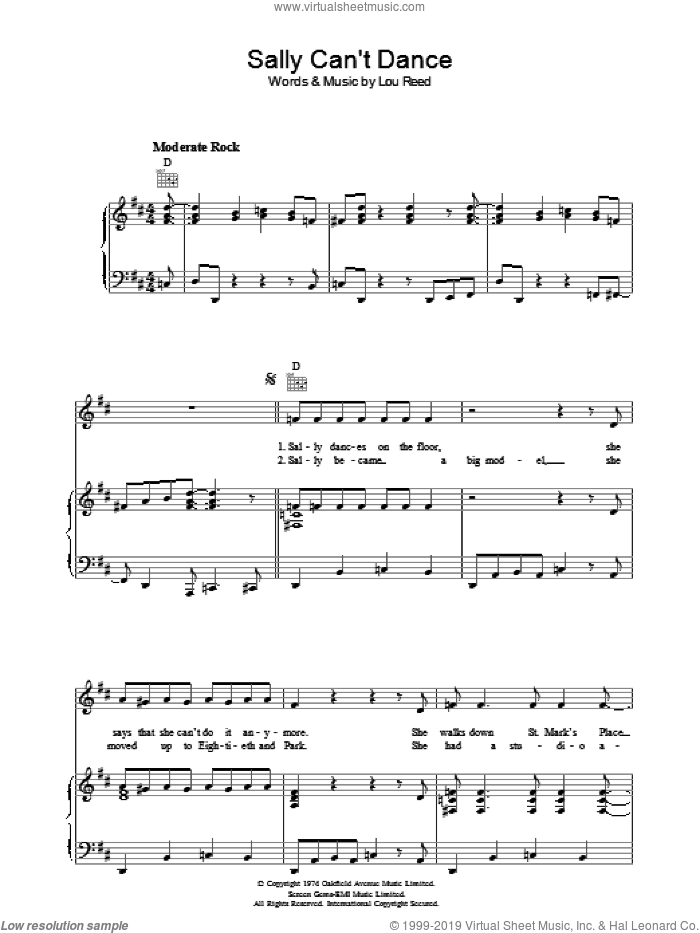 Sally Can't Dance sheet music for voice, piano or guitar by Lou Reed, intermediate voice, piano or guitar. Score Image Preview.