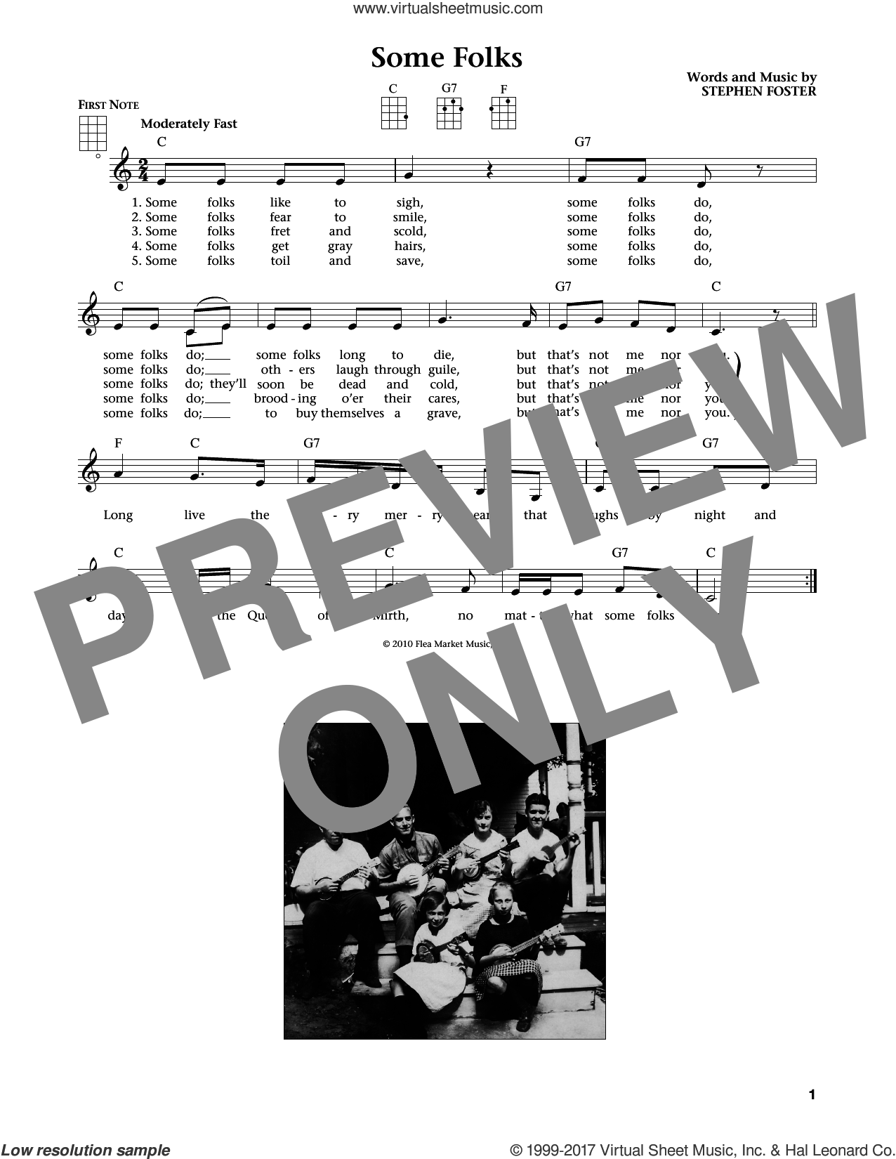 Some Folks sheet music for ukulele by Stephen Foster, Jim Beloff and Liz Beloff, intermediate. Score Image Preview.