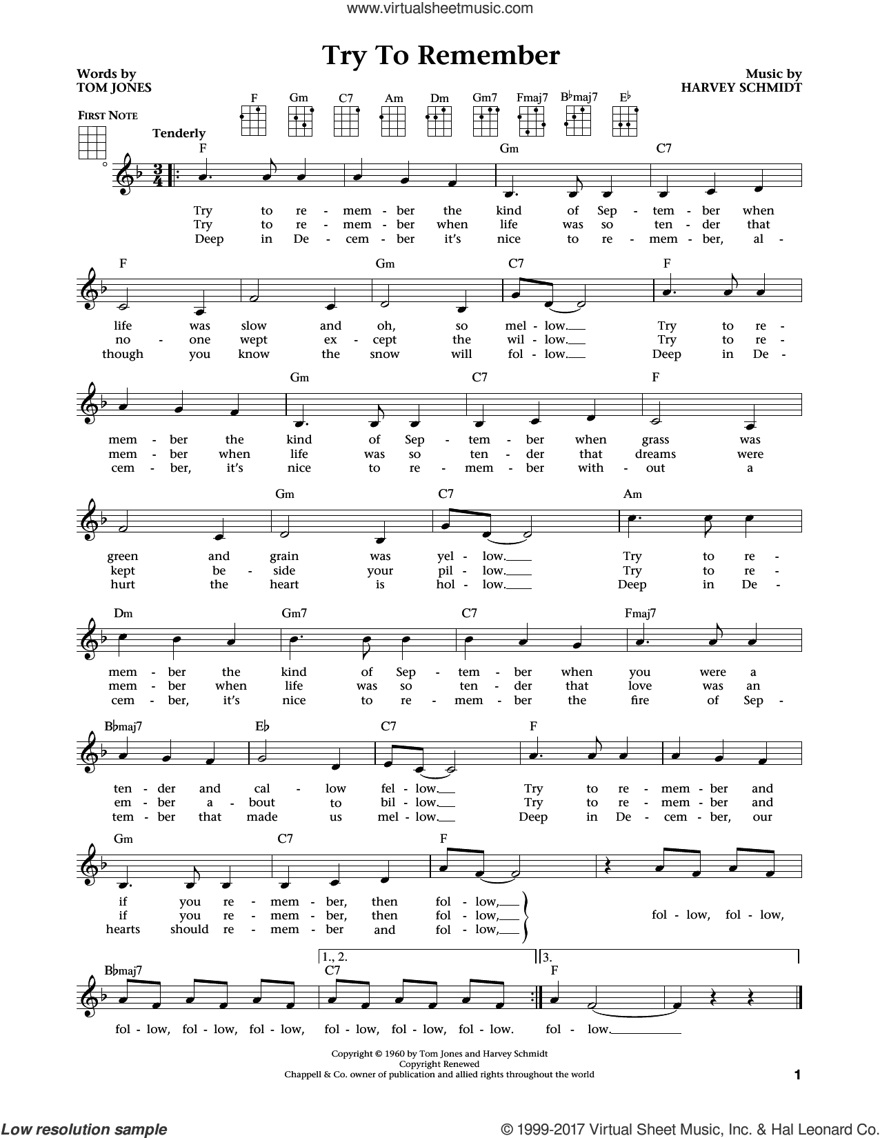 Try To Remember (from The Daily Ukulele) (arr. Liz and Jim Beloff) sheet music for ukulele by Tom Jones, Jim Beloff, Liz Beloff and Harvey Schmidt, intermediate skill level